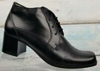 Mootsies Tootsies Women's Black Leather Ankle Lace Up Block Heel Boot Size 7.5 M