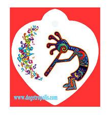 KoKopelli Music Dog Pet Cat ID Tag Heart Shape Image Personalized Key Ring