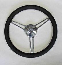 "64-66 Chevy II 2 Nova Impala Black Leather Billet Steering Wheel 14 3/4"" SS Cap"