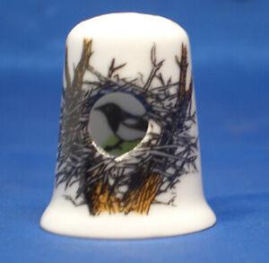 Birchcroft China Thimble -- Peep -- Magpie in Nest -- Free Dome Box