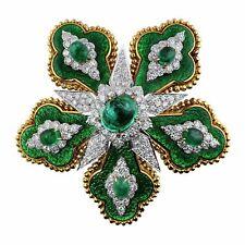 David Webb Emerald Floral Brooch