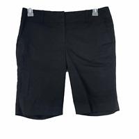 Ann Taylor Womens size 8 Solid Black Flat Front Cotton Blend Bermuda Shorts