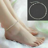 925 Silver Adjustable Ankle Bracelet Women Anklet Foot Jewelry Chain Beach Gift
