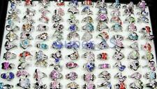 5pcs multicolor Rhinestone silver Plated Rings wholesale jewelry lots free ship