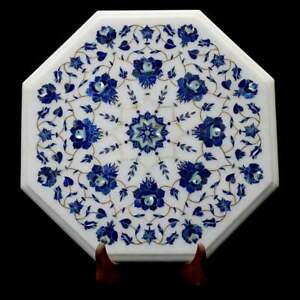 """12"""" White Marble Coffee Top Table Lapis Marquetry Inlay Floral Art Decorate W621"""