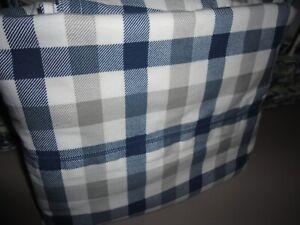 "CIRCO LARGE GINGHAM PLAID BLUE GRAY WHITE TWIN FLAT SHEET COTTON BLEND 62 X 94"""