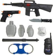 10 PCS Kids Toy Gun Police Pretend Play Set Rifle Pistol Handcuffs Grenade Knife