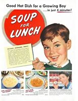 1952 Campbell's Soup Vintage Print Ad Good Hot Dish For A Growing Boy