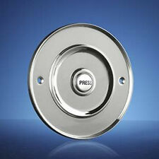 "Wired Door Bell Push Button, Flush Fitting, 100mm (4"") Chrome, Model 2207P3Cr"