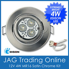 KIT 12V 4W EDISON LED MR16 WHITE DOWN LIGHT- GIMBAL SATIN CHROME HOUSING