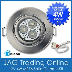 KIT 12V 4W EDISON LED MR16 WHITE DOWN LIGHT- GIMBAL SATIN CHROME HOUSING