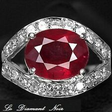 LDN_Bague Rubis Rouge 3.92CT Saphir Blanc_Argent 925_52