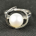 Fine Large 10.5mm AAA White Natural Pearl Zircon 925 Sterling Silver Ring SZ 8