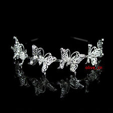 6 Big Butterfly Bridal Bridesmaid Prom Party Crystal Tiara Headband