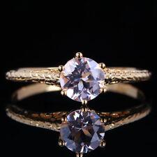 Filgree Shining 6mm Round Pink Morganite Filigree 14K Yellow Gold Wedding Ring