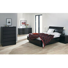Black 4 Piece Full Bed Furniture Set Dorm Bedroom Home Living Decor Dresser Apt