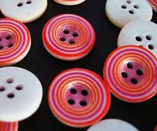 20 Red/Pink Circles 17mm Plastic Flatback Sewing Button/craft/trim/4 holes Sb15