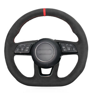 For Audi A3 S3 2016-2017 car hand-sewn steering wheel cover black suede leather
