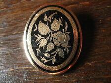 bezaubernd schöne Biedermeier Schaumgold Brosche emailliert Rose als Medallion