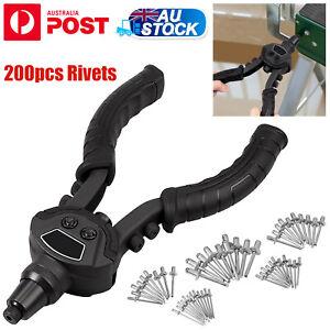 "10"" Heavy Duty Pop Rivet Gun Hand Riveter Tool Kit & 200X Rivet 5 Head Nozzles"