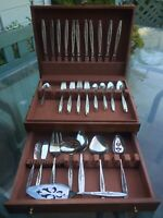 "Vintage 1966 International Silverplate Flatware Set 63 Pcs. ""Laurel Mist"" w/BOX!"