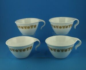 4 Corelle Butterfly Gold Classic Hook Handle Coffee Cups