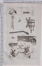 1788 antica stampa Pneumatics bisbigliando luogo Vento Gun Wind-Mill diagramma
