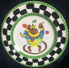 """PRESENT TENSE MONKEY BUSINESS GREEN 9 3/4"""" DINNER PLATE ITALY ANNE HATHAWAY NEW"""