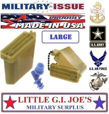 NEW SIZE LARGE Military Issue Ear Plugs W/ Storage Case Tactical Earplugs 26db