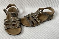 Taos T Drop Pewter Brown Leather Strap Sandals Women's Size US 6 VGUC