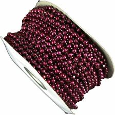 Pearl Plastic Beads on a String 4Mm Faux Craft Roll 24 yds (burgundy)
