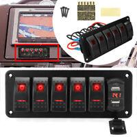 6 Gang Dual USB LED Rocker Switch Panel Circuit Breaker 12V 24V Boat Marine  //
