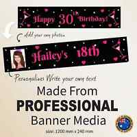 18th 21st 30th Birthday Hanging  Decorations Canvas Party Banner Personalised