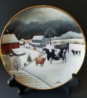 """COWS IN WINTER"", Franklin Mint, American Folk Art Collection Series 1992"