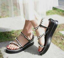 Couro Bege Senhoras Diamante Toe Post Gladiador Verão sandálias Chinelos Nova