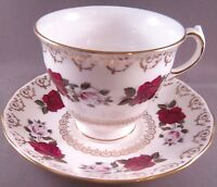 Queen Anne Bone China Cup & Saucer -Red & White Roses - England