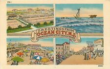 GREETINGS FROM OCEAN CITY, NEW JERSEY - MULTI-VIEW LINEN POSTCARD VIEW