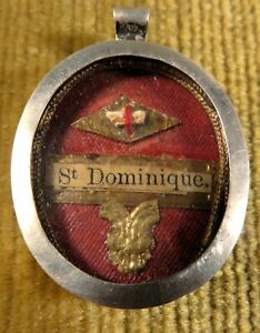 ANTIQUE SILVER THECA CASE WITH A RELIC OF ST.DOMINIC - FOUNDER