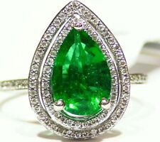 2.53CT 14K Gold Natural Emerald Round Cut White Diamond Vintage Engagement Ring