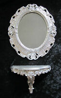 Wall mirror + Console OVAL Wall bracket SET baroque antique 44x38 SILVER 1
