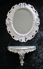 Wall Mirror + Console Oval Wall Bracket Set Baroque Antique 44x38 Silber 1