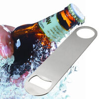 1x Portable Stainless Steel Large Flat Speed Bottle Cap Opener Remover Bar Blade