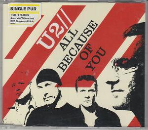 U2 - All Because Of You - 2 Track CD Single - CID906 / 9874410