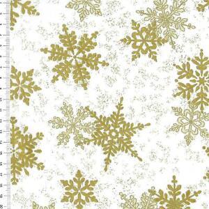"(€18,00/m)Patchworkstoff -  "" Shimmer Frost "" weiß / gold - 25 x 110cm"