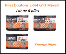Lot of 6 Button Batteries LR44 G13 Brand Maxell