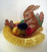 Vintage Easter Decoration w/ Bunny & Honeycomb Nest & Colorful Easter Eggs*