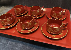 Vintage Japanese Coffee set lacquer & gilt 6 Cups & Saucers Matching Tray RED