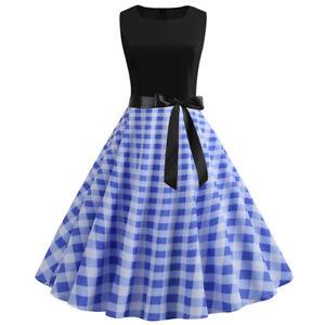 Frauen 50er Retro Stil Rockabilly Petticoat Gedruckt Partykleid Abendkleid Ball