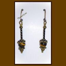 Vintage Look....Tiger's Eye Antique Bronze Dangle Earrings...Leverback Hooks