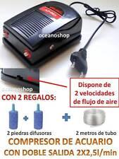 OXIGENADOR de ACUARIO y Pecera DOBLE 2 SALIDAS AIRE COMPRESOR Bomba CON REGALOS